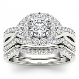White Gold 1 1/4ct TDW Diamond Halo Engagement Ring Set with One Band - Custom Made By Yaffie™