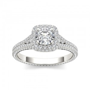 White Gold 1 1/4ct TDW Diamond Split-Shank Halo Engagement Ring - Custom Made By Yaffie™