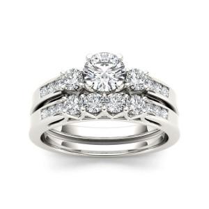White Gold 1 1/4ct TDW Diamond Three-Stone Engagement Ring Set - Custom Made By Yaffie™