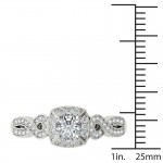 White Gold 1/2ct TDW Diamond Halo Engagement Ring - Custom Made By Yaffie™