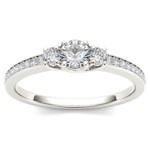 White Gold 1/2ct TDW Diamond Three-Stone Anniversary Ring - Custom Made By Yaffie™