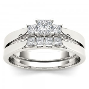 White Gold 1/2ct TDW Diamond Three-Stone Engagement Ring Set with One Band - Custom Made By Yaffie™