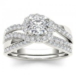 White Gold 1ct TDW Diamond Bypass Halo Engagement Ring Set with One Band - Custom Made By Yaffie™