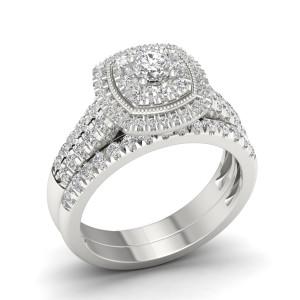 White Gold 1ct TDW Diamond Cluster Halo Bridal Set - Custom Made By Yaffie™