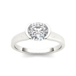 White Gold 1ct TDW Diamond Half-Bezel Engagement Ring - Custom Made By Yaffie™
