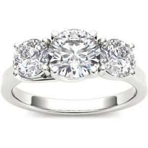 White Gold 2ct TDW Diamond 3-stone Ring - Custom Made By Yaffie™