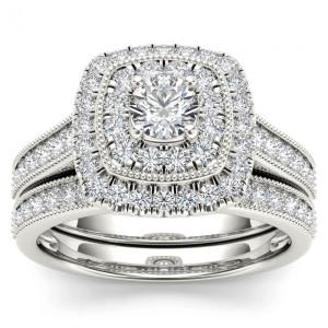 White Gold 3/4ct TDW Diamond Double Halo Bridal Ring Set - Custom Made By Yaffie™