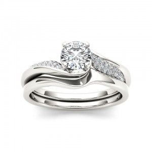 White Gold 5/8ct TDW Classic Diamond Bypass Engagement Ring - Custom Made By Yaffie™