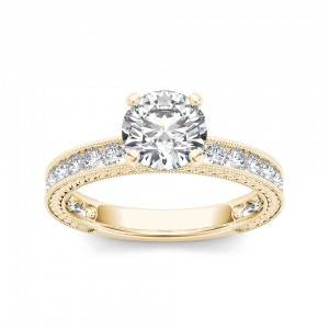 Gold 1 1/2ct TDW Diamond Classic Engagement Ring - Custom Made By Yaffie™