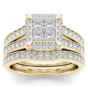 Gold 1 1/2ct TDW Diamond Halo Engagement Ring Set with One Band - Custom Made By Yaffie™
