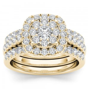 Gold 1 1/2ct TDW Diamond Halo Engagement Ring Set with Two Bands - Custom Made By Yaffie™