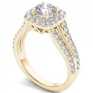 Gold 1 1/2ct TDW Diamond Halo Ring - Custom Made By Yaffie™