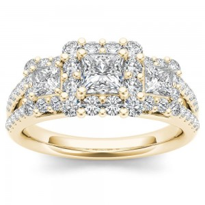 Gold 1 1/2ct TDW Diamond Three-Stone Halo Engagement Ring - Custom Made By Yaffie™
