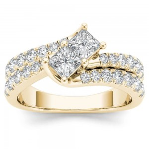 Gold 1 1/2ct TDW Two-Stone Diamond Engagement Ring - Custom Made By Yaffie™