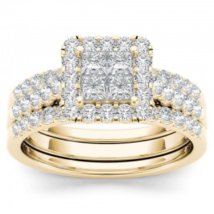 Gold 1 1/4ct TDW Diamond Halo Engagement Ring Set with Two Bands - Custom Made By Yaffie™