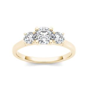 Gold 1 1/4ct TDW Diamond Three-Stone Anniversary Ring - Custom Made By Yaffie™