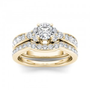 Gold 1 5/8ct TDW Diamond Classic Engagement Ring Set - Custom Made By Yaffie™