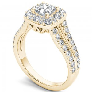 Gold 1 ct TDW Diamond Halo Ring - Custom Made By Yaffie™
