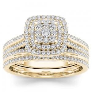 Gold 1/2ct TDW Diamond Cluster Halo Bridal Set - Custom Made By Yaffie™
