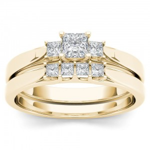 Gold 1/2ct TDW Diamond Three-Stone Engagement Ring Set with One Band - Custom Made By Yaffie™