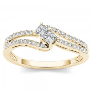 Gold 1/3ct TDW Two-Stone Diamond Engagement Ring - Custom Made By Yaffie™