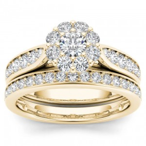 Gold 1ct TDW Diamond Double Halo Bridal Ring Set - Custom Made By Yaffie™