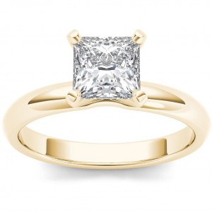 Gold 1ct TDW Diamond Princess Cut Solitaire Engagement Ring - Custom Made By Yaffie™