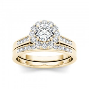 Gold 1ct TDW Diamond Scallop Halo Engagement Ring - Custom Made By Yaffie™