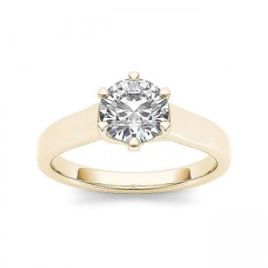 Gold 1ct TDW Diamond Solitaire Engagement Ring - Custom Made By Yaffie™