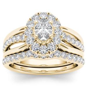 Gold 1ct TDW Oval Shape Diamond Halo Bridal Set - Custom Made By Yaffie™