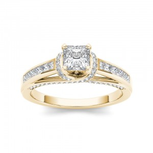 Gold 1ct TDW Princess-cut Diamond Engagement Ring - Custom Made By Yaffie™