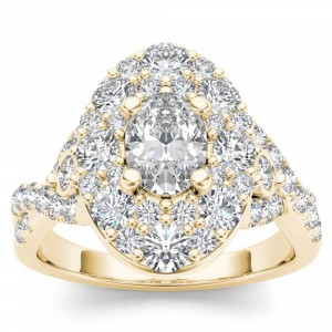 Gold 2 1/2ct TDW Oval Shape Diamond Halo Engagement Ring - Custom Made By Yaffie™