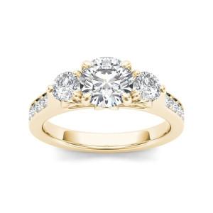 Gold 2ct TDW Diamond Three-Stone Anniversary Ring - Custom Made By Yaffie™