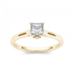 Gold 3/4ct TDW Classic Princess-Cut Diamond Engagement Ring - Custom Made By Yaffie™