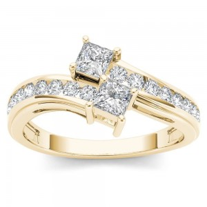 Gold 3/4ct TDW Two-Stone Diamond Engagement Ring - Custom Made By Yaffie™