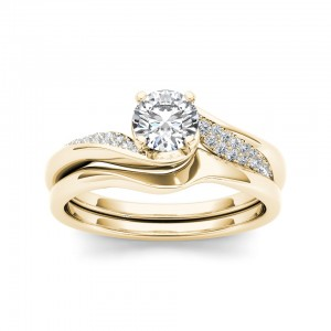 Gold 5/8ct TDW Classic Diamond Bypass Engagement Ring - Custom Made By Yaffie™