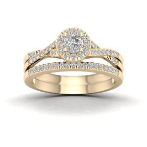 Gold 5/8ct TDW Diamond Halo Bridal Set - Custom Made By Yaffie™