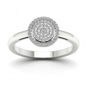 1/6ct TDW Diamond Halo Engagement Ring - Custom Made By Yaffie™