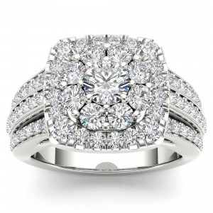2ct TDW Diamond Halo Engagement Ring - Custom Made By Yaffie™