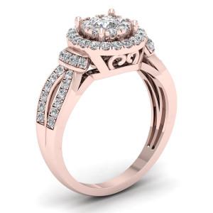3/4ct TDW Diamond Halo Engagement Ring - Custom Made By Yaffie™