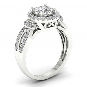 3/4ct TDW Diamond Halo Engagement Ring - Custom Made By Yaffie™