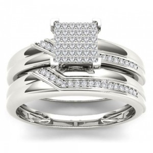 S925 Sterling Silver 1/5 ct TDW Diamond Cluster Engagement Ring Set - Custom Made By Yaffie™