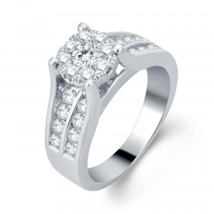 White Gold 1 1/6ct TDW Diamond Halo Engagement Ring - Custom Made By Yaffie™