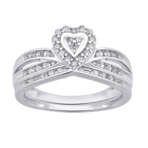 White Gold 1/4ct TDW White Diamond Heart Shape Bridal Set - Custom Made By Yaffie™