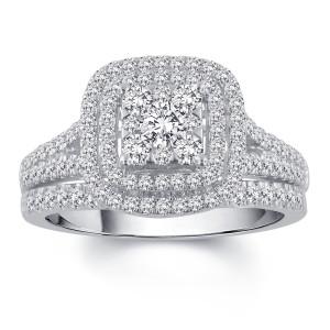White Gold 1ct TDW Diamond Bridal Set - Custom Made By Yaffie™