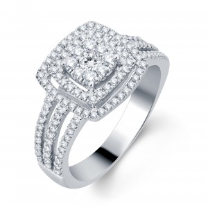 White Gold 3/4ct TDW Halo Diamond Bridal Ring - Custom Made By Yaffie™