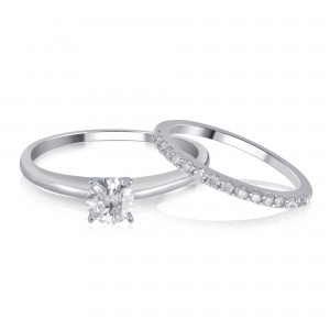 White Gold 1.00ct TDW Diamond Bridal Set comes in box.. - Custom Made By Yaffie™