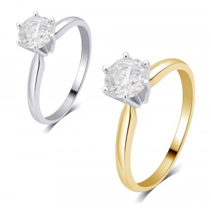 gold 3/4ct TDW Diamond Solitaire Engagement Ring - Custom Made By Yaffie™