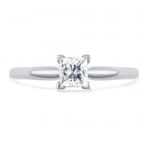 Gold 1/2ct TDW Princess-Cut Solitaire Diamond Engagement Ring. - Custom Made By Yaffie™