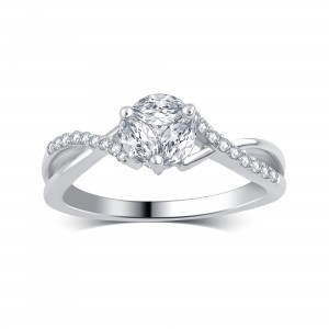 White Gold 1/2ct TDW Round and Marquise Diamond Engagement Ring - Custom Made By Yaffie™